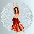 Bellydancer On Ornamental Background