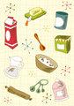 Retro cuisine icon set
