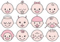 Baby faces, vector facial expressions