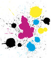 Vector grungy colorful CMYK paint drops