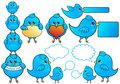Blue bird icons, vector