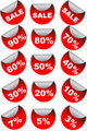 Red sale labels badges and discount stickers