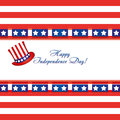 American flag colors on a greetings card and top hat for 4th of July independence day
