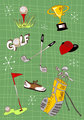 Cartoon golf icons set