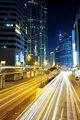 Traffic in downtown at night,hongkong city