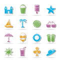 Beach, sea and holiday icons