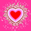 Abstract St. Valentine card with flowers and circles, vector ill