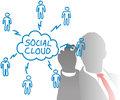 Person drawing social cloud media diagram