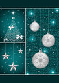 Christmas balls, tree and stars