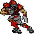 Football Player Runningback Vector Cartoon