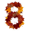 Number eight multicolored fall leaf composition isolated