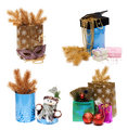 Сollage gift package, box and golden spruce branch