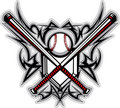 Baseball Softball Bats Tribal Graphic Vector Image