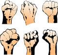 Six Struggle Hand Symbols. Vector Illustration