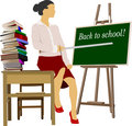 Woman teacher in classroom. Back to school. Vector illustration