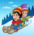 Winter scene with kids on sledge