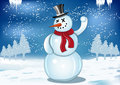 Smiling snowman with red scarf and snowball