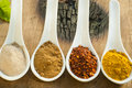 Four different spices in a china spoon, pepper, chili, curry and