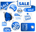 Set of blue discount elements