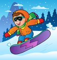 Winter scene with boy on snowboard