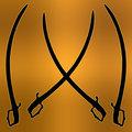 Coat of Arms Golden Cross Sword Silhouette