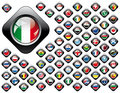 Shiny button flags with black frame collection -  vector illustr