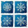 set grunge snowflake