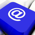 At Computer Key In Blue For Emailing Or Contacting