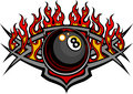 Billiards Eight Ball Flaming Vector Design Template
