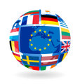 Flags of EU countries on globe