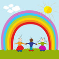 kids on rainbow background