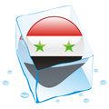 syria button flag frozen in ice cube