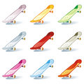 isolated colored skateboard set
