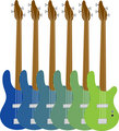 Colorful Bass Guitars