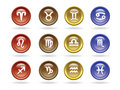 Zodiac signs Glossy icons