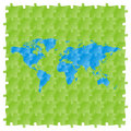 world map with puzzle pattern