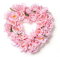 Heart Shaped Pink Rose Arrangement on White