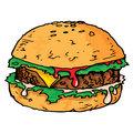 Illustration of a large juicy hamburger