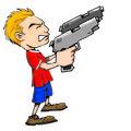 Cartoon of boy with huge guns
