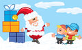 Cartoon Santa with a white beard in the snow
