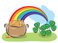 St. Patrick Day pot with coins, rainbow and shamrocks