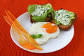 Fried egg with toasts with cream-cheese