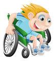Wheelchair racing cartoon man