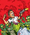Cartoon of zombies attacking a man with a gun