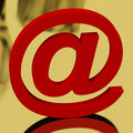 Red Email Sign Representing Internet Mail And Communication