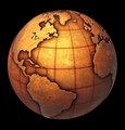 Earth globe made of grunge copper like metal