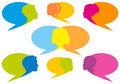speech bubbles with faces, vector