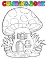Coloring book mushroom house