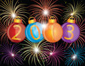 2013 New Year Ornaments and Fireworks Illustration
