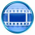 Film icon blue, isolated on white background.